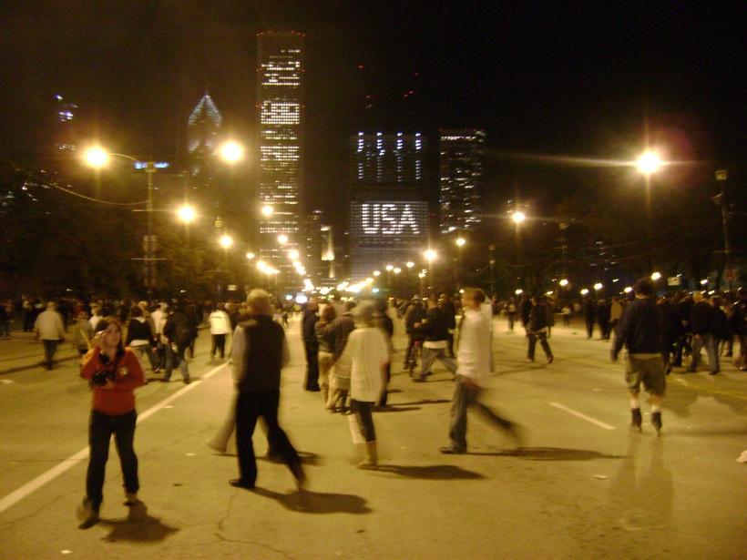 Grant Park on Obama night. Chicago, IL